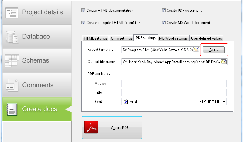 customizing db doc pdf and word report templates yohz software