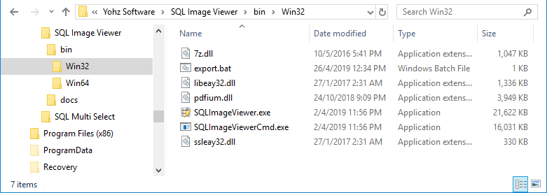 Running the SQL Image Viewer command line interface in batch files