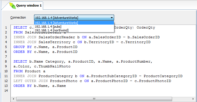 SQL Data Sets - Online help - SQL editor
