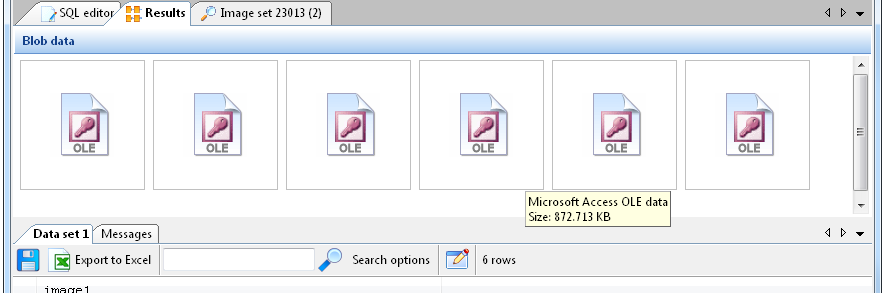 SQL Image Viewer online help - Exporting Microsoft Access OLE data